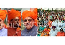 Union Ministers Dr Jitendra Singh and Anurag Thakur and BJP national vice president Shyam Jaju at a rally in Jammu on Sunday. — Excelsior/Rakesh
