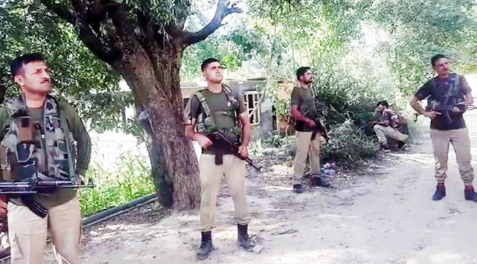 Security personnel on high alert in Kishtwar after escape of the militants on Friday.
