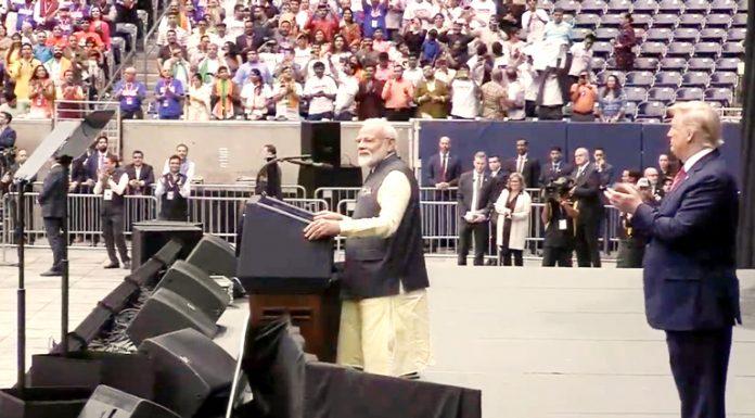 US President Donald Trump claps as Prime Minister Narendra Modi addresses ' Howdy Modi' event at Houston in United States on Sunday.