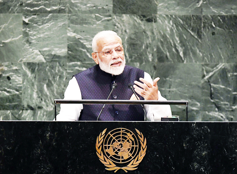 Prime Minister Narendra Modi addressing the United Nations General Assembly (UNGA) in New York on Friday.