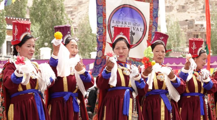 A cultural performance during Ladakh festival in Leh on Sunday.