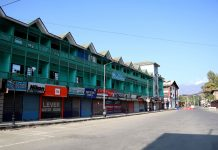 A view of deserted Lal Chowk in Srinagar on Saturday. -Excelsior/Shakeel