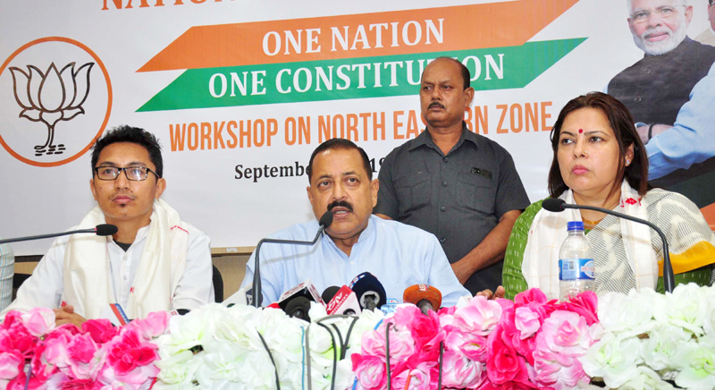 Union Minister of State Dr Jitendra Singh addressing a press conference in Guwahati on Wednesday. (UNI)