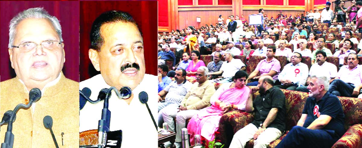 Governor Satya Pal Malik and Union Minister Dr Jitendra Singh addressing a function at Jammu on Saturday. -Excelsior/Rakesh