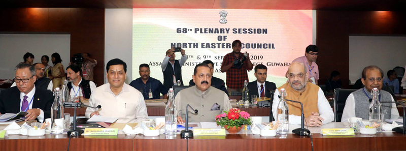 Union Home Minister Amit Shah, MOS DoNER (Independent charge) Dr Jitendra Singh and others during Plenary Session of North Eastern Council at Guwahati on Sunday. (UNI)