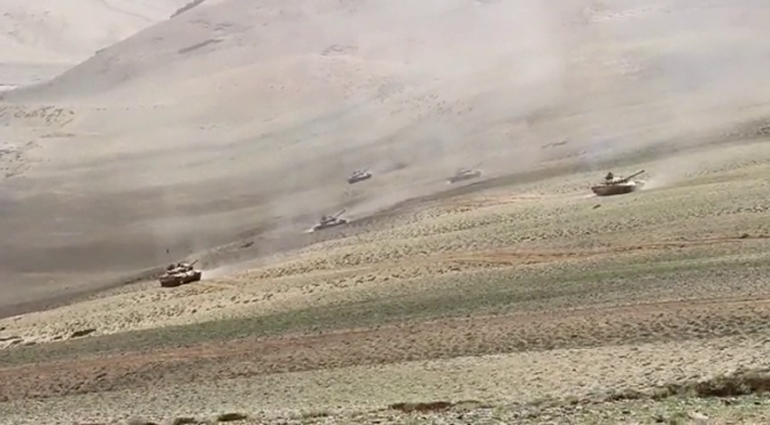 A view of Indian military exercises in Eastern Ladakh.
