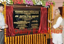Governor, Satya Pal Malik along with Union Minister, Dr Jitendra Singh and speaker, Nirmal Singh laying foundation stone of 200 bedded hospital at Kathua on Saturday.