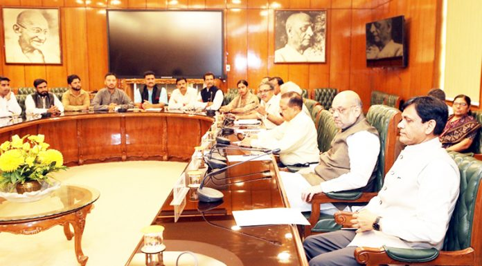 Union Home Minister Amit Shah in a meeting with Sarpanchs from J&K in New Delhi on Tuesday.