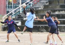 Players in action during Handball match at sports ground, Jammu University on Friday. —Excelsior/Rakesh