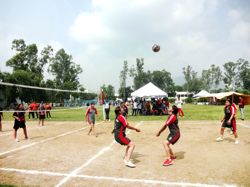 Players in action during a Volleyball match at GDC Udhampur.
