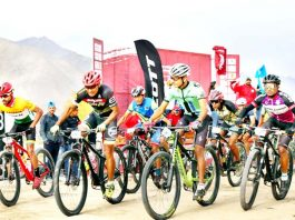 Cyclists during North Quest Challenge in Leh on Saturday.