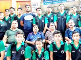 Selected players posing for group photograph with dignitaries before leaving for National Rope Skipping Championship.