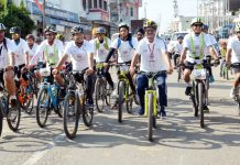 Cyclists during Cyclothon organized by Shri Mata Vaishno Devi Shrine Board, Katra on Sunday.
