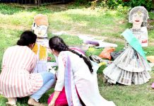 Students during Clay Modelling contest of Display Your Talent at Jammu University.