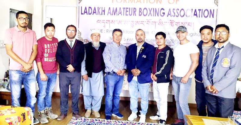 Members of Ladakh Amateur Boxing Association posing for a group photograph on Leh on Saturday.
