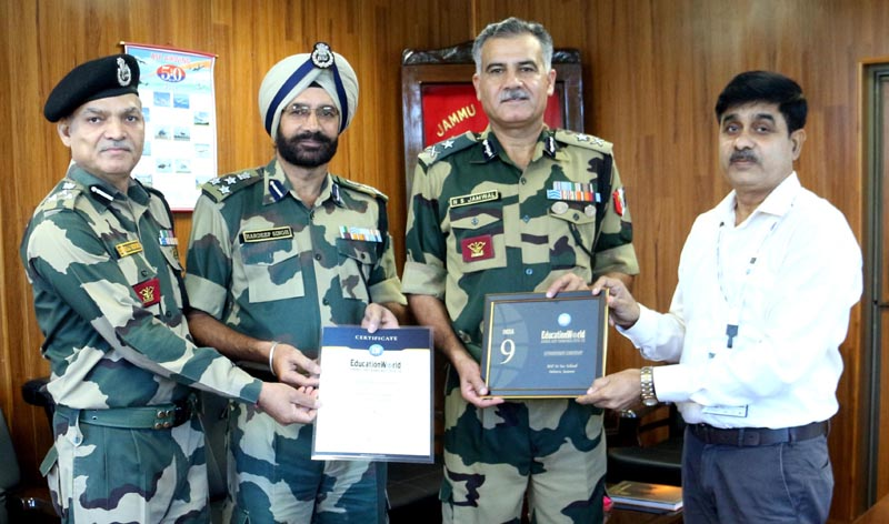 IG BSF Jammu Frontier NS Jamwal along with other BSF Officers felicitating Dr SK Shukla Principal BSF School Jammu.