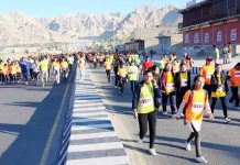Runners participating in Half Marathon in Leh on Sunday. -Excelsior/Morup Stanzin