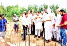 MLC, Ch. Vikram Randhawa laying foundation stone of Toilet Complex at Sohanjana on Monday.