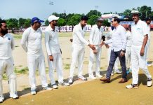 Pawan Parihar So to DIG Jammu and Rajesh Gill, Chief Prosecuting Officer interacting with players at Parade ground Jammu on Wednesday.