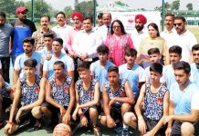 Players posing along with DDC Udhampur, Dr Piyush Singla during Inter-District tournament on Tuesday.