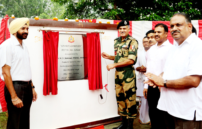 IG BSF Jammu Frontier NS Jamwal inaugurating sports complex at BSF Senior Secondary School Jammu on Thursday.