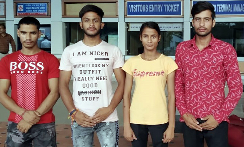 State Sport climbers posing for a photograph at Indira Gandhi International Airport, New Delhi before their departure for Sikkim.