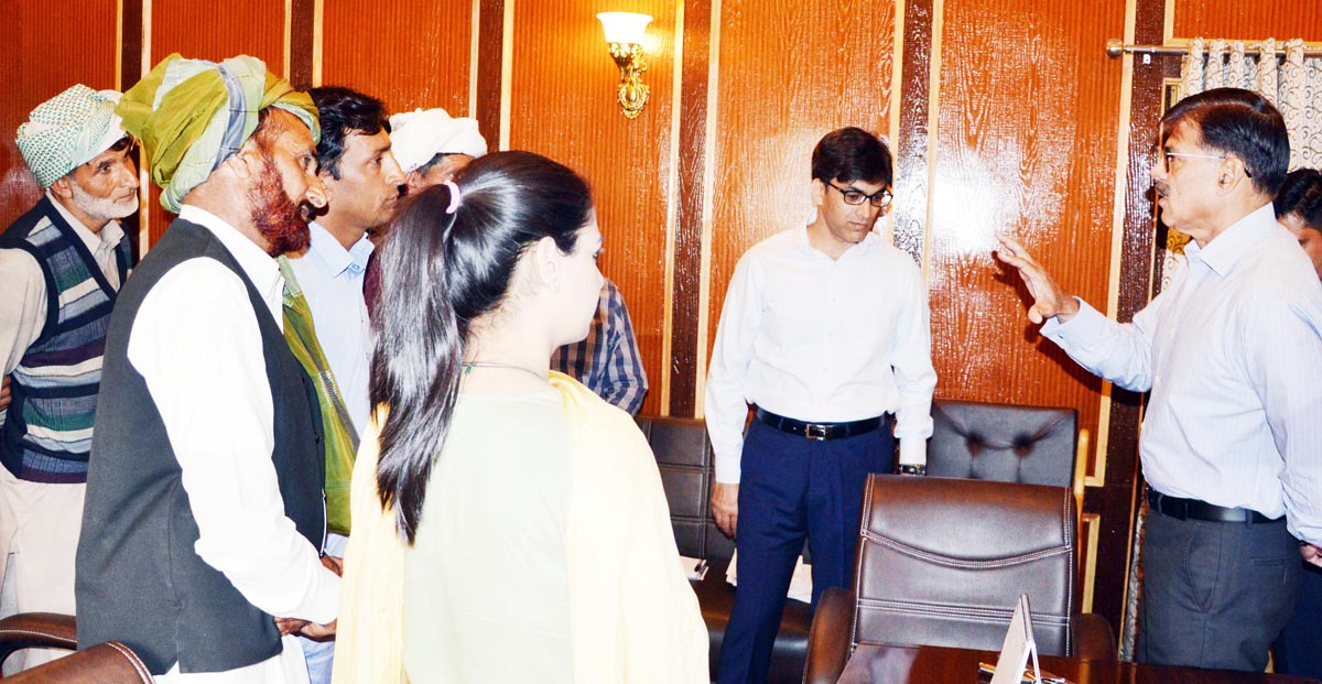 Advisor Vijay Kumar interacting with a deputation on Tuesday.
