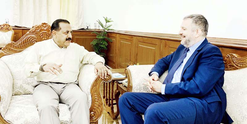 Serbia Ambassador to India, Vladimir Maric calling on Union Minister Dr Jitendra Singh at New Delhi on Tuesday.