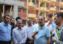 Principal Secretary Planning Rohit Kansal inspecting Government Quarters in Jammu on Wednesday.