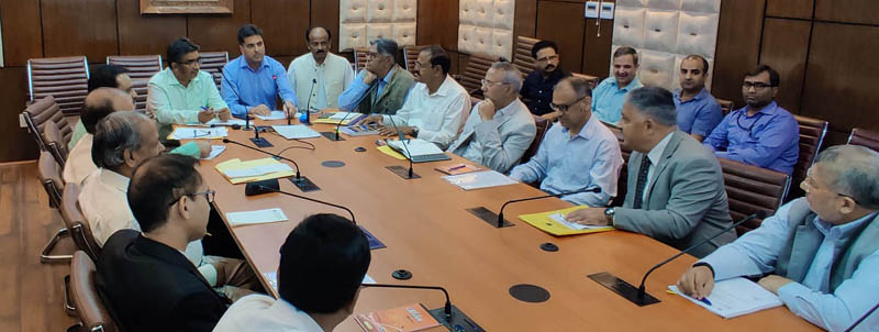MHRD Joint Secretary chairing a meeting at Srinagar on Friday.