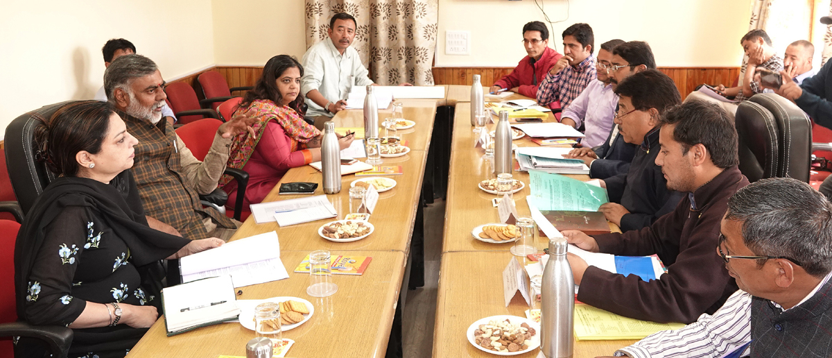 Union Minister Prahlad Singh Patel chairing a meeting of LAHDC at Leh.