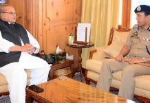 Governor Satya Pal Malik meeting DG Prisons V K Singh on Saturday.