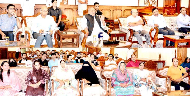 Governor Satya Pal Malik interacting with Councillors at Raj Bhawan, Srinagar on Monday.
