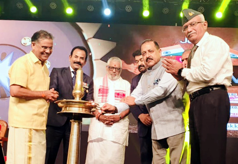 Union Minister Dr Jitendra Singh lighting the traditional lamp to formally inaugurate a programme organised by