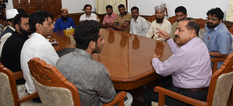 Union Minister Dr Jitendra Singh interacting with Sarpanchs from Doda who called on him at New Delhi on Thursday.