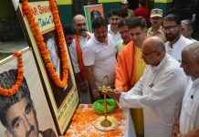 BJP leaders paying tributes to martyr Tika Lal Taploo at Jammu on Friday. -Excelsior/Rakesh