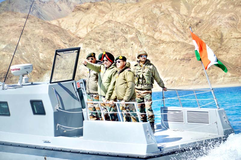 Northern Army Commander during visit to forward location in Ladakh.