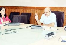 Chief Secretary BVR Subrahmanyam chairing a meeting at Srinagar on Tuesday.