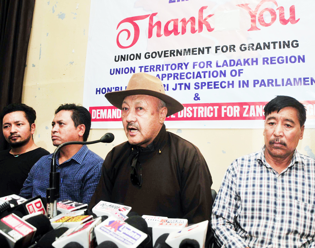 LBA Zanskar leaders at a press conference at Jammu on Tuesday. -Excelsior/Rakesh