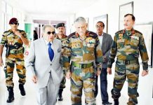 Army Chief Gen Bipin Rawat with Finance Commission official in Leh on Tuesday.