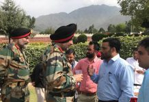 Northern Command Chief Lt Gen Ranbir Singh at a forward village on Friday.