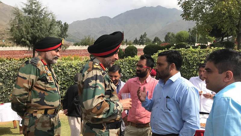 Northern Command Chief Lt Gen Ranbir Singh at a forward village on Friday.