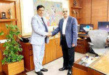 J&K Bank Chairman R K Chhibber meeting RBI Governor at Mumbai.