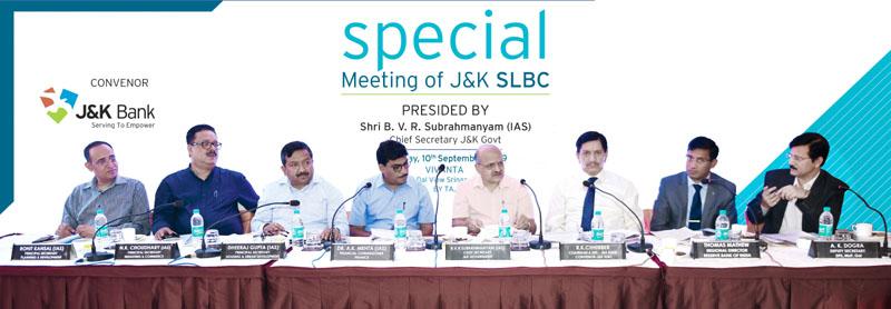 Chief Secretary, BVR Subrahmanyam chairing Special J&K SLBC meeting at Srinagar on Tuesday.