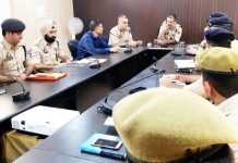 DIG JSK Range Vivek Gupta chairing a security review meeting in district Samba on Saturday.