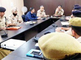 DIG JSK Range Vivek Gupta chairing a security review meeting in district Samba on Saturday.