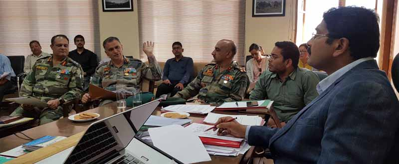 Divisional Commissioner Ladakh Saugat Biswas chairing a meeting on Wednesday.