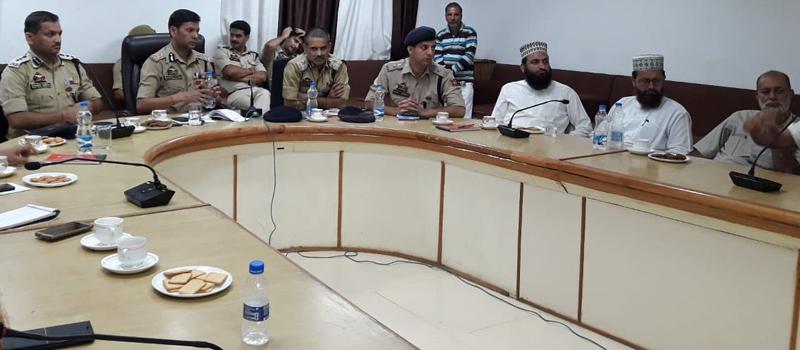IGP Jammu Zone Mukesh Singh chairing a meeting on Sunday.