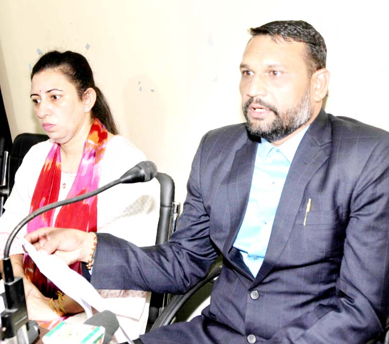 Bhavesh Sutariya, MD, Atmiya Fieldcon Private Limited Gujarat interacting with media persons at Jammu on Monday. -Excelsior/Rakesh