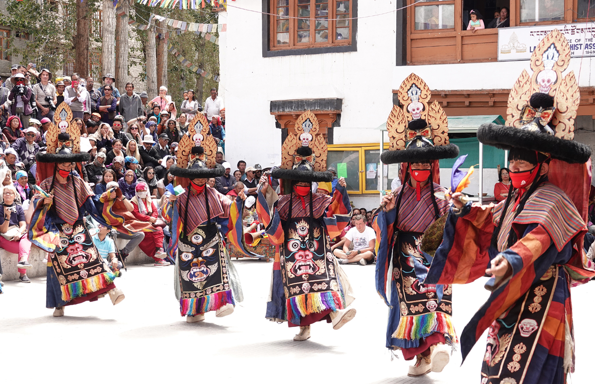 Monks presenting a dance during Ladakh Festival on Tuesday.